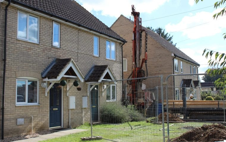 Airey Close ground source heat pump case study: borehole drilling in a tight space