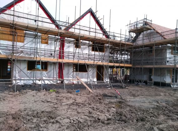 Tuckers Close ground source heat pump case study: gable end scaffolding